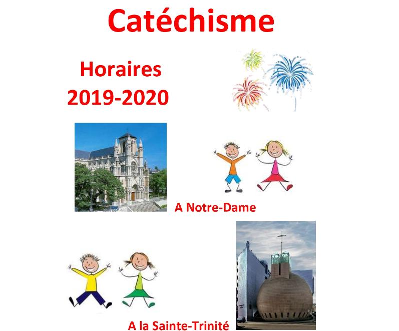 Catéchisme – informations et horaires 2019-2020