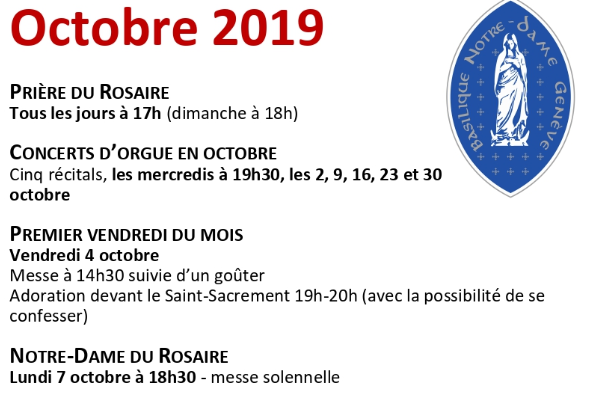 Les rendez-vous d'octobre et novembre à la basilique