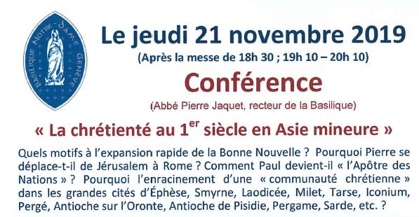 """Conférence """"La chrétienté au 1er siècle en Asie mineure"""" – jeudi 21 novembre 19h10-20h10"""