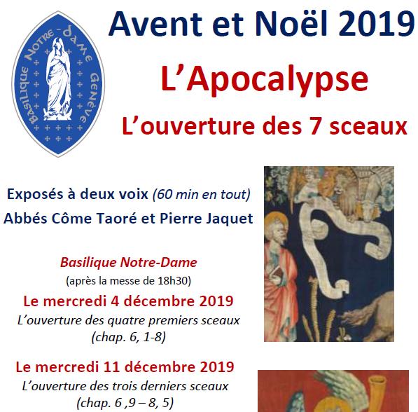 """""""L'Apocalypse – L'ouverture des 7 sceaux"""" – exposés à deux voix par les abbés Côme Traoré et Pierre Jaquet"""