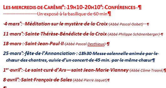 ANNULATION des Conférences à la basilique – les mercredis de Carême à 19h10