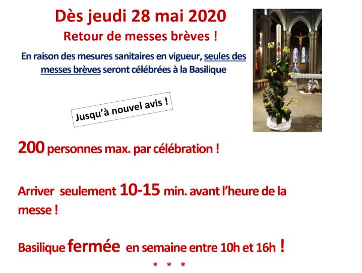INFORMATION IMPORTANTE : reprise des messes et Rosaire à la Basilique dès le jeudi 28 mai